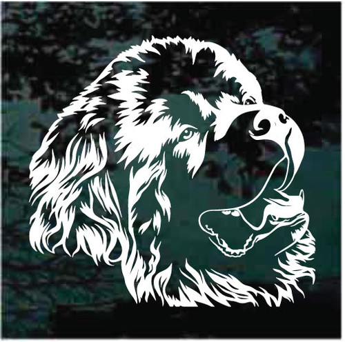 Nice Newfoundland Dog Head Window Decals