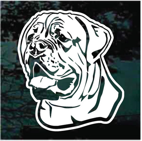Friendly English Mastiff Head Window Decals