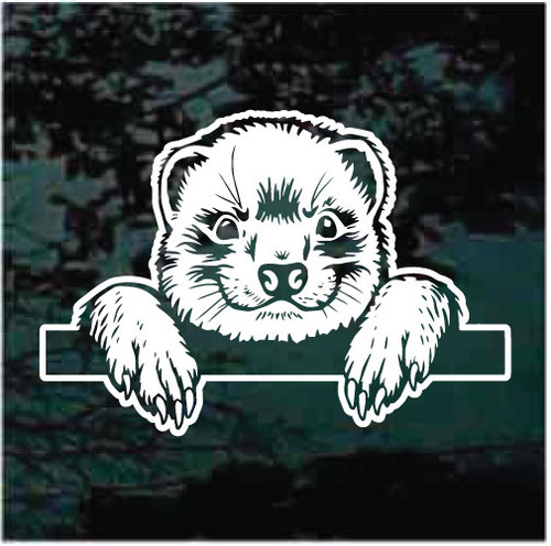 Ferret Peeking Window Decals