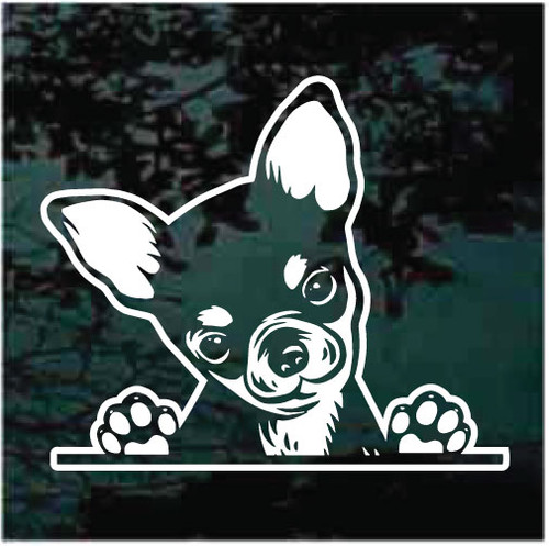 Chihuahua Puppy Peeking Doggie In The Window Decals