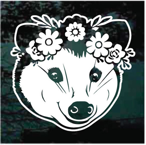 Cute Possum Face With Flowers Window Decals