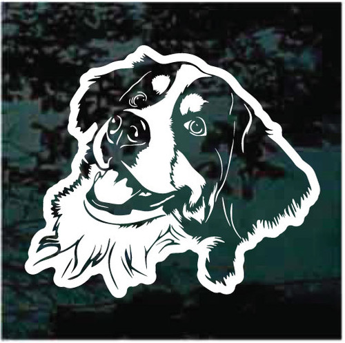 Sweet Bernese Mountain Dog Face Window Decals
