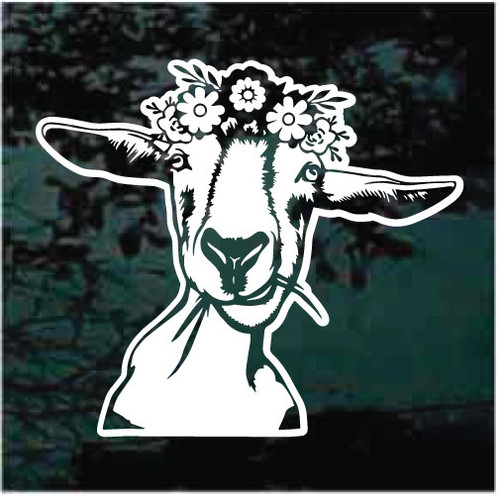 Nanny Goat Wearing Flower Hat Window Decals