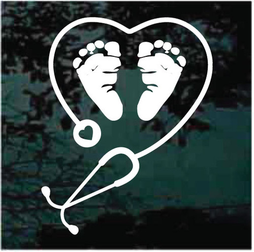 OB Nurse Stethoscope Heart Window Decals