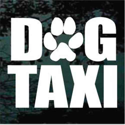 Dog Taxi With Paw Print Window Decal