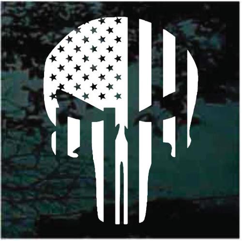 American Flag Skull Window Decals