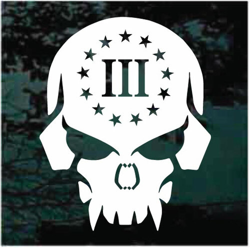 Gun Rights 3 Percenter Skull Window Decals