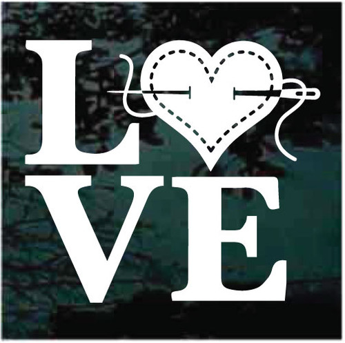 Love Quilting Sewing Window Decals