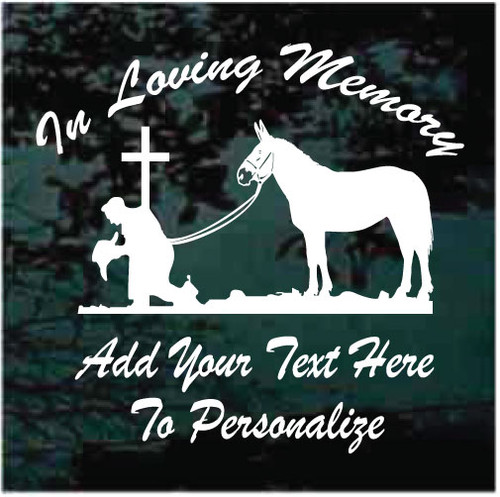 Cowboy Kneeling At The Cross With Mule Memorial Decals