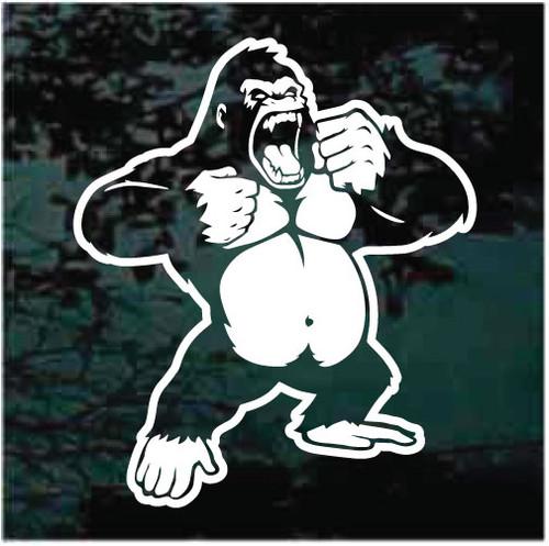 Angry Gorilla Standing Window Decals