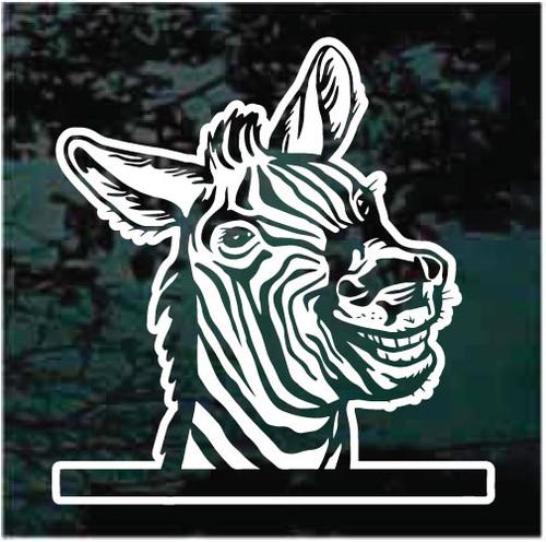 Zebra Peeking In The Window Decals