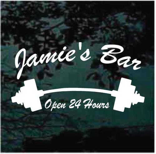 Jamie's Bar Barbell Open 24 Hours Window Decals