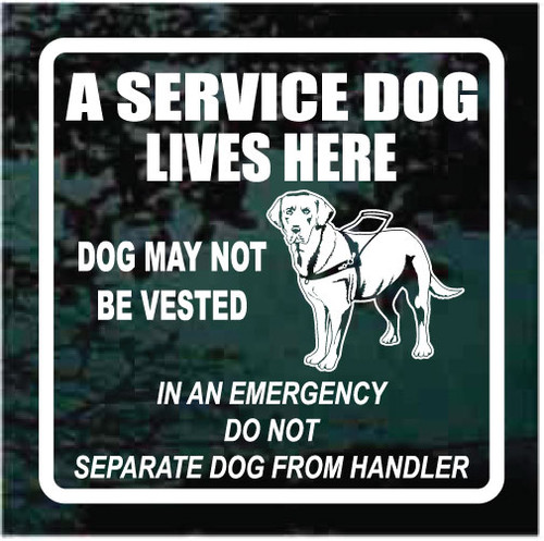 Labrador Retriever A Service Dog Lives Here Decals
