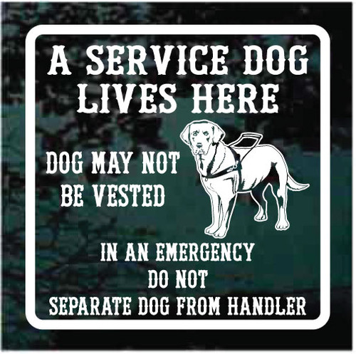 A Service Dog Lives Here Custom Window Decals