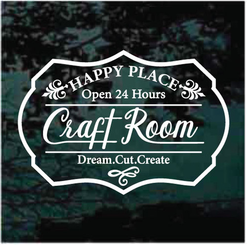 Happy Place Craft Room Sign Decals