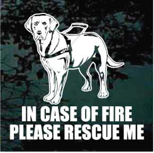 Fire Rescue Labrador Retriever Service Dog Window Decal