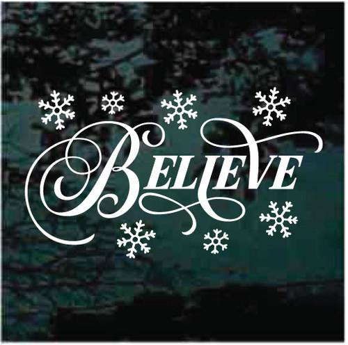 Believe Snowflakes Christmas Decals
