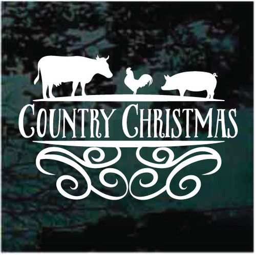 Country Christmas With Farm Animals Decals