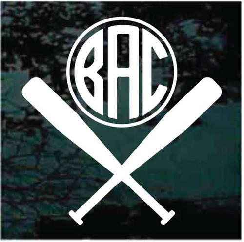 Baseball Bats Monogram Decals