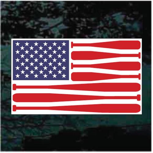 Baseball American Flag Decals
