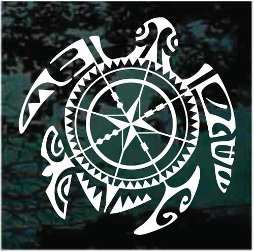 Directional Tribal Sea Turtle Compass Decals