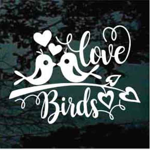 Love Birds On A Branch Window Decal