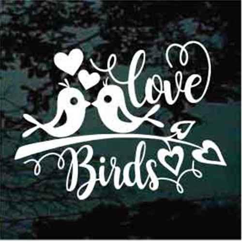 Love Birds On A Branch Window Decals