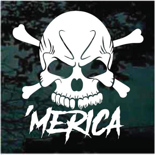 Merica Patriotic Skull Decals