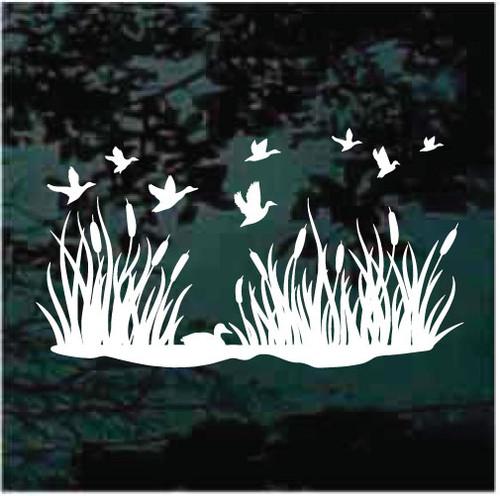 Flock Of Ducks Flying Over Pond Decals