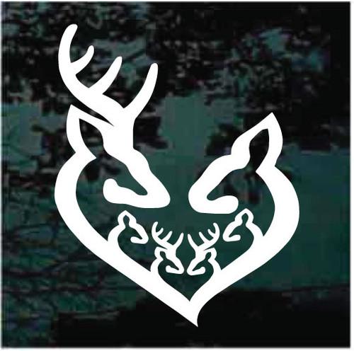 Deer Family Heart Custom Decals