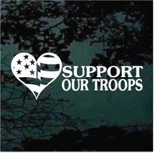 Support Our Troops USA Heart Flag Window Decal