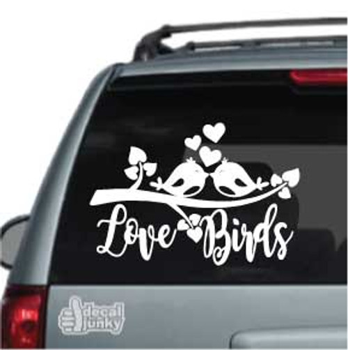 Love Birds Kissing On A Branch Car Decal