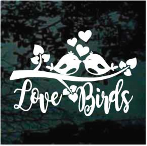 Love Birds Kissing On A Branch Window Decal