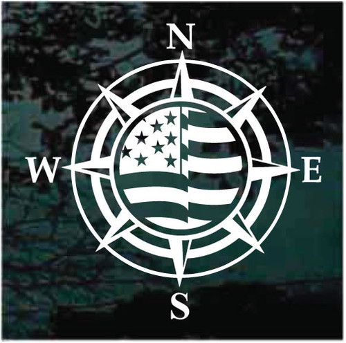 American Flag Compass Decals