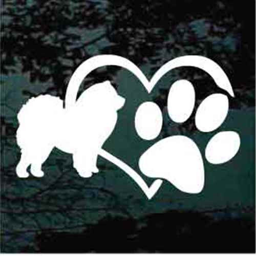 Chow Heart Paw Window Decal