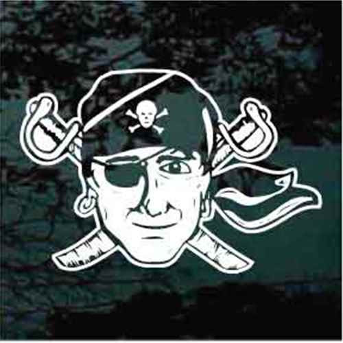 Pirate Head With Swords Crossed