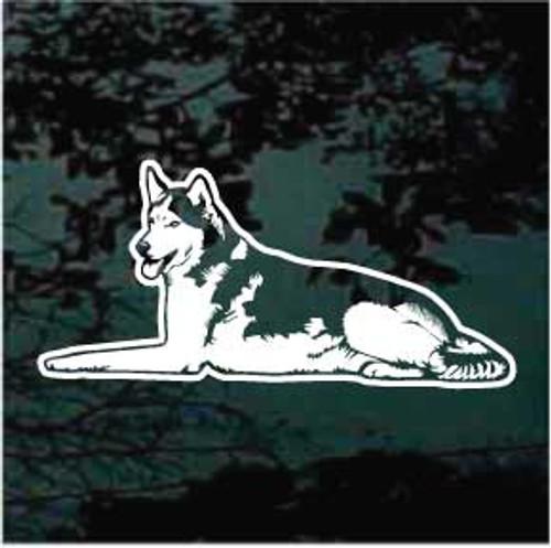 Siberian Husky Down Window Decal