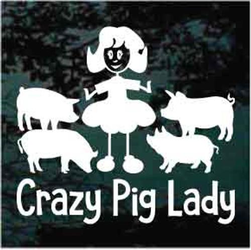 Crazy Pig Lady Window Decals