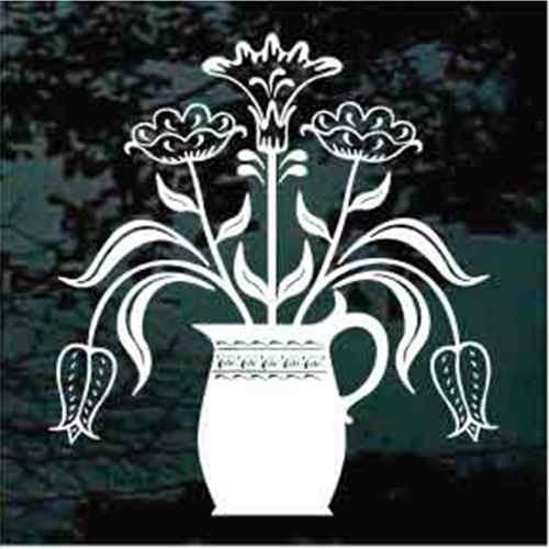 Folk Art Vase Of Flowers