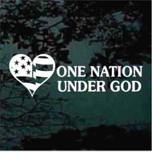 American Flag Heart One Nation Under God Window Decal