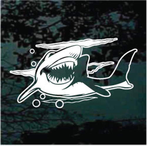 Cartoon Shark Showing Teeth Window Decals