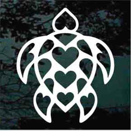 Turtle Heart Love Window Decals