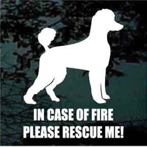 Poodle Fire Rescue Window Decal