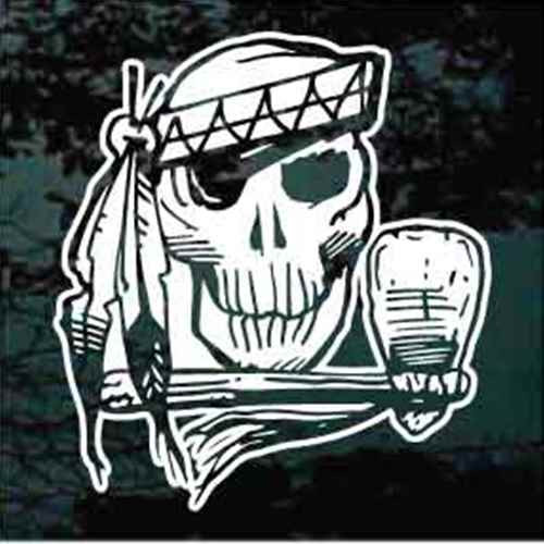Native American Skull With Feathers Decal