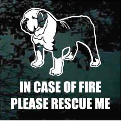 English Bulldog Detailed Fire Rescue Window Decals