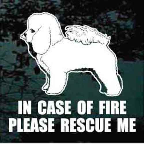 Bichon Frise Standing Fire Rescue Window Decal