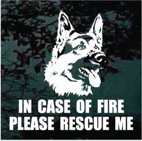 In Case Of Fire Please Rescue Me German Shepherd Head Decals