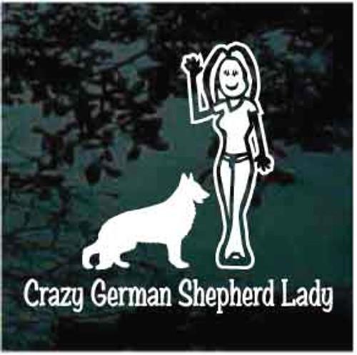 Crazy German Shepherd Lady Decals
