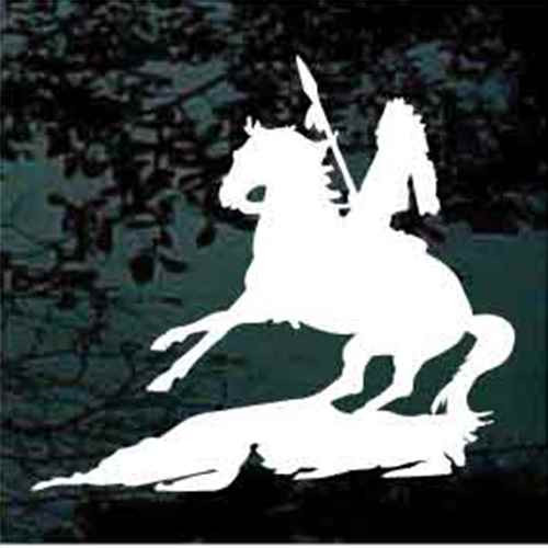 Indian On Rearing Horse Decal
