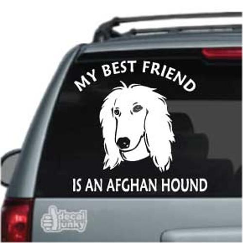 Best Friend Afghan Hound Dog Car Window Decal